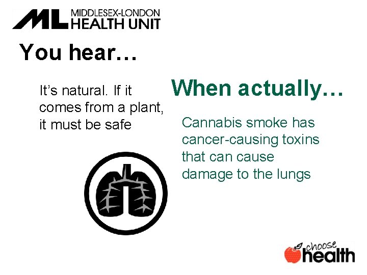 You hear… It's natural. If it comes from a plant, it must be safe