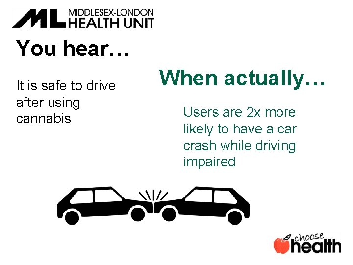 You hear… It is safe to drive after using cannabis When actually… Users are