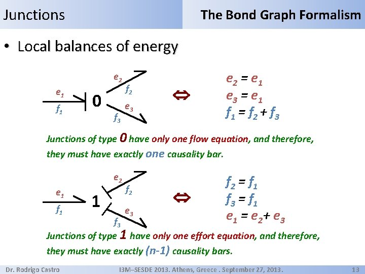 Junctions The Bond Graph Formalism • Local balances of energy e 2 e 1