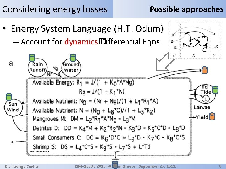 Considering energy losses Possible approaches • Energy System Language (H. T. Odum) – Account