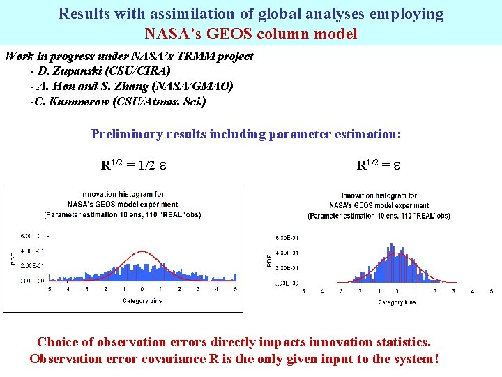 Results with assimilation of global analyses employing NASA's GEOS column model Work in progress
