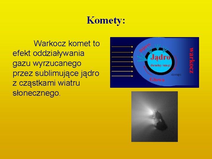 Komety: Warkocz komet to efekt oddziaływania gazu wyrzucanego przez sublimujące jądro z cząstkami wiatru