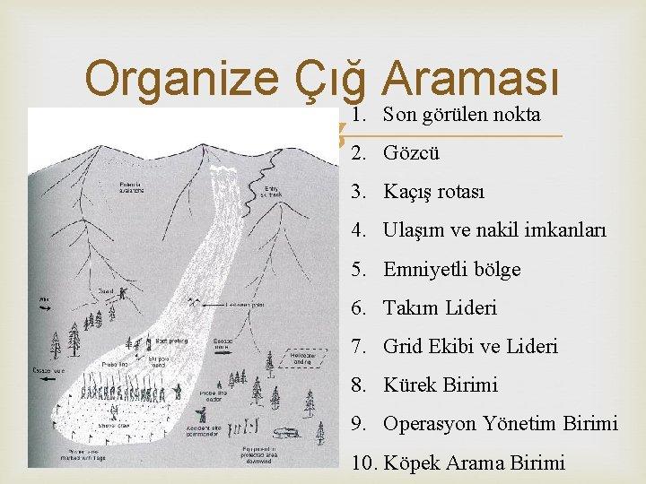 Organize Çığ Araması 1. Son görülen nokta 2. Gözcü 3. Kaçış rotası 4. Ulaşım