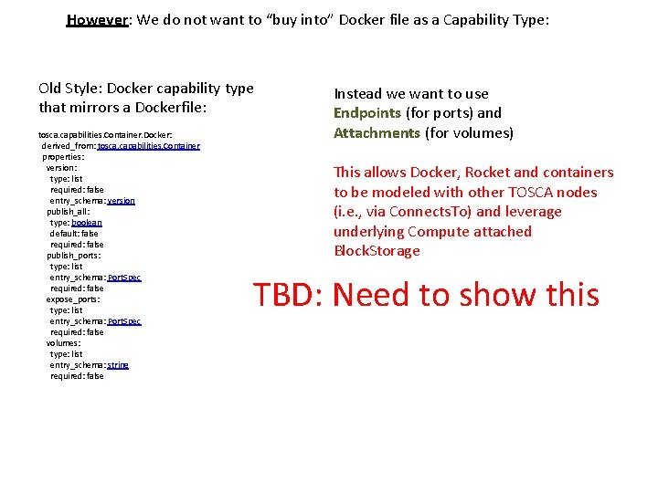 "However: We do not want to ""buy into"" Docker file as a Capability Type:"