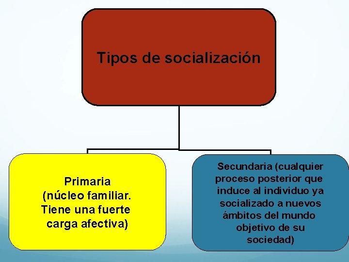 Tipos de socialización Primaria (núcleo familiar. Tiene una fuerte carga afectiva) Secundaria (cualquier proceso