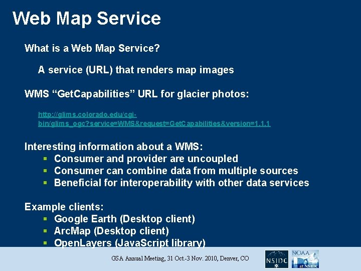 Web Map Service What is a Web Map Service? A service (URL) that renders