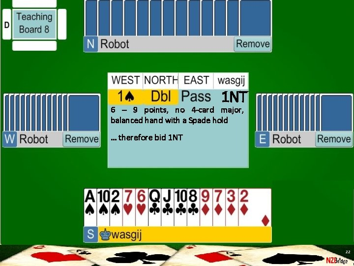 1 NT 6 – 9 points, no 4 -card major, balanced hand with a