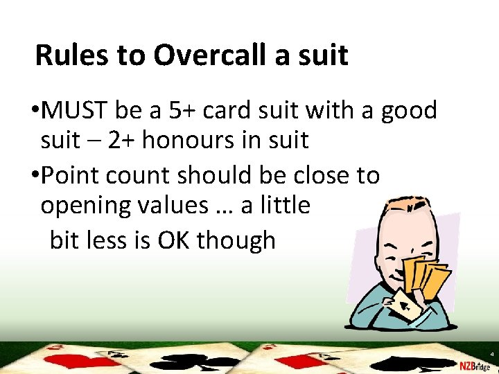 Rules to Overcall a suit • MUST be a 5+ card suit with a
