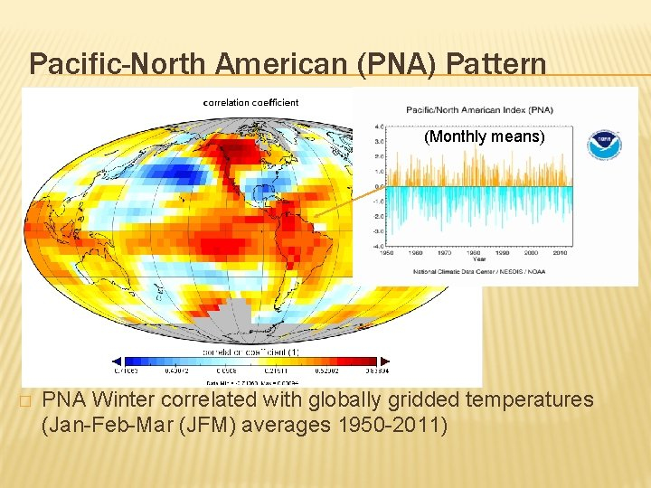 Pacific-North American (PNA) Pattern (Monthly means) � PNA Winter correlated with globally gridded temperatures