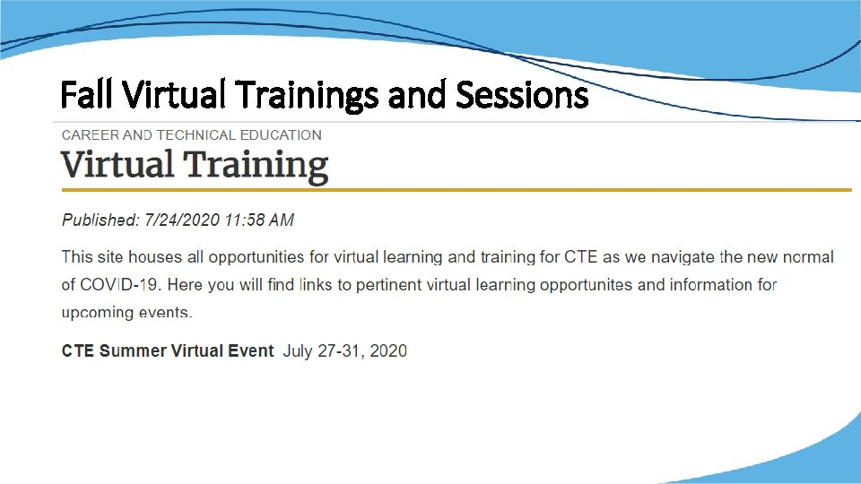Fall Virtual Trainings and Sessions