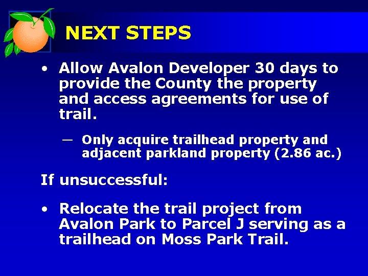 NEXT STEPS • Allow Avalon Developer 30 days to provide the County the property