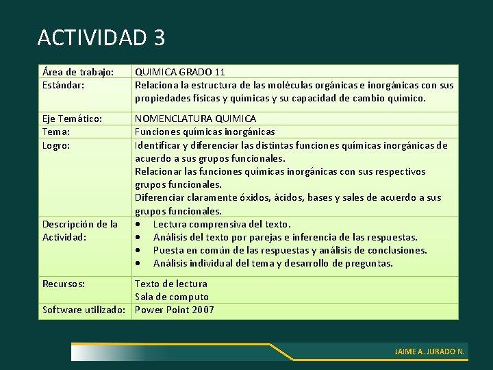ACTIVIDAD 3 Área de trabajo: Estándar: QUIMICA GRADO 11 Relaciona la estructura de las