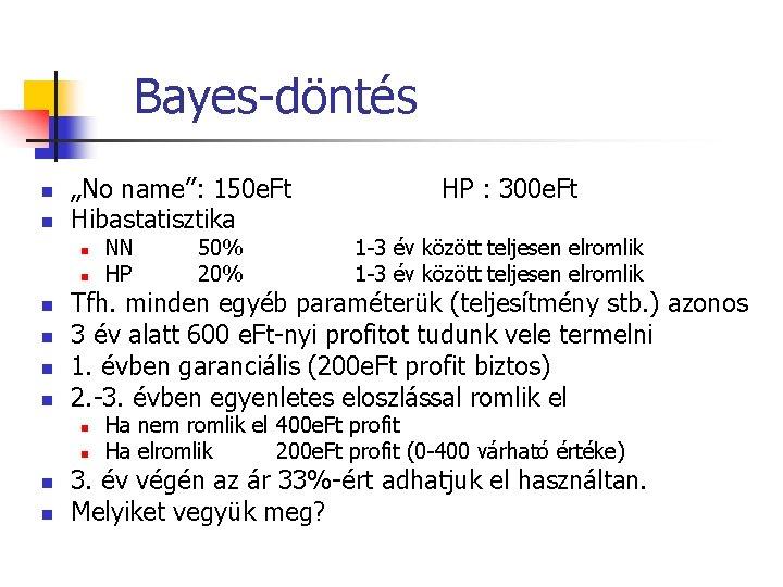 """Bayes-döntés n n """"No name"""": 150 e. Ft Hibastatisztika n n n n 50%"""