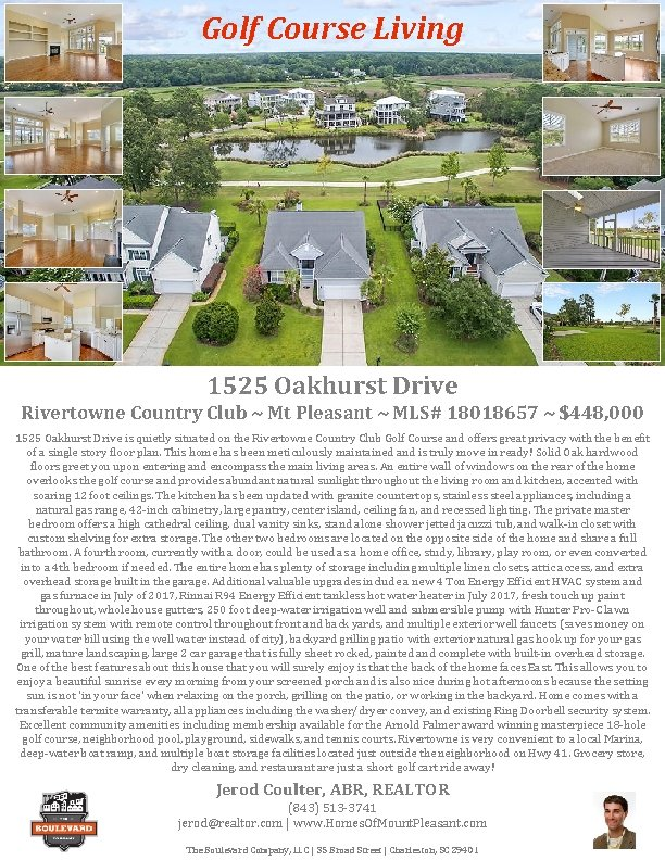 Golf Course Living 1525 Oakhurst Drive Rivertowne Country Club ~ Mt Pleasant ~ MLS#