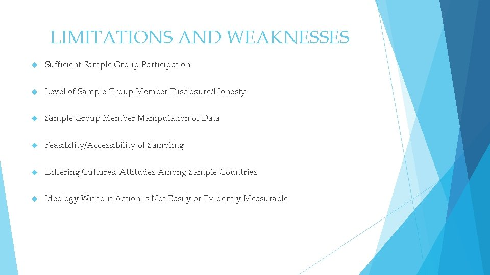 LIMITATIONS AND WEAKNESSES Sufficient Sample Group Participation Level of Sample Group Member Disclosure/Honesty Sample