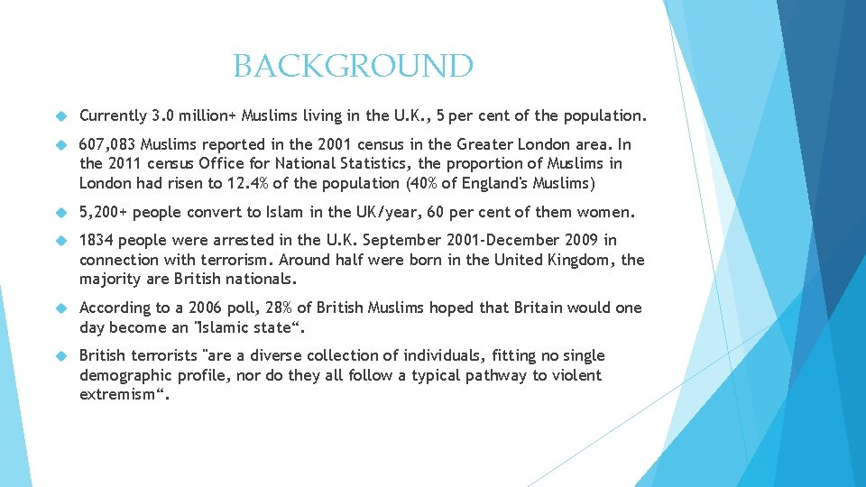 BACKGROUND Currently 3. 0million+ Muslims living in the U. K. , 5per cent of