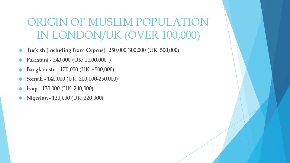 ORIGIN OF MUSLIM POPULATION IN LONDON/UK (OVER 100, 000) Turkish (including from Cyprus)- 250,