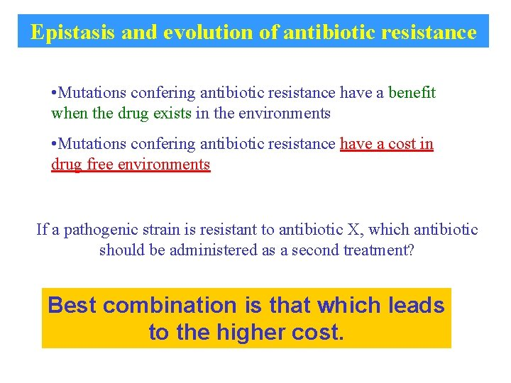 Epistasis and evolution of antibiotic resistance • Mutations confering antibiotic resistance have a benefit