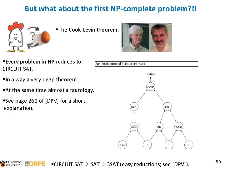 But what about the first NP-complete problem? !! §The Cook-Levin theorem. §Every problem in