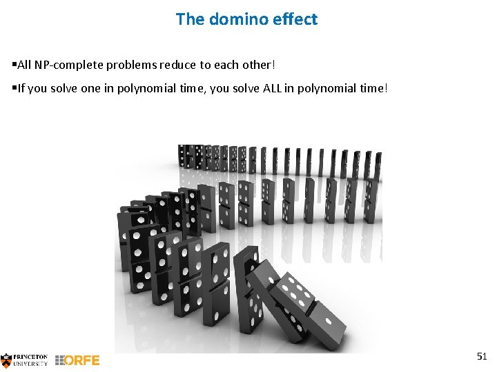 The domino effect §All NP-complete problems reduce to each other! §If you solve one