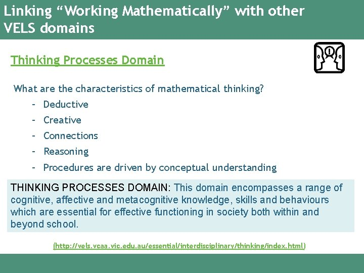 """Linking """"Working Mathematically"""" with other VELS domains Thinking Processes Domain What are the characteristics"""