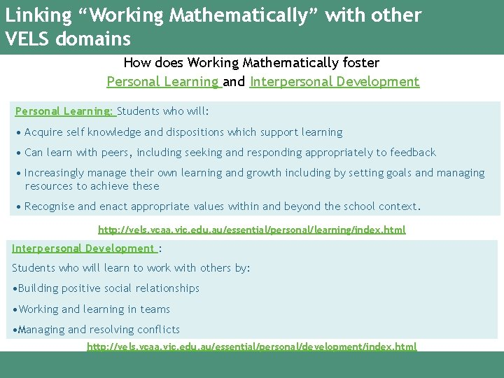 """Linking """"Working Mathematically"""" with other VELS domains How does Working Mathematically foster Personal Learning"""