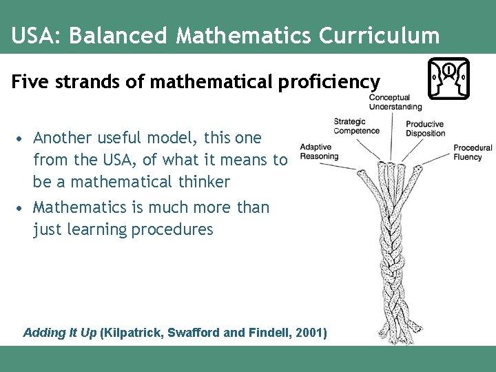 USA: Balanced Mathematics Curriculum Five strands of mathematical proficiency • Another useful model, this