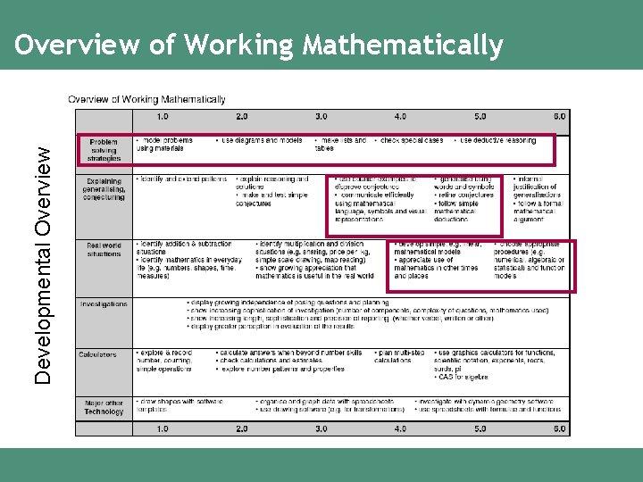 Developmental Overview of Working Mathematically