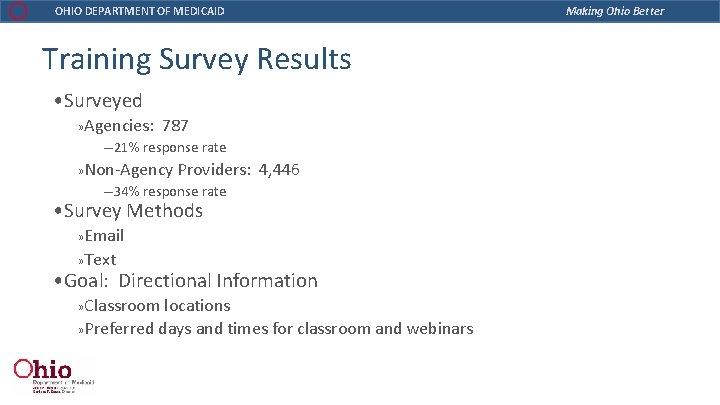 OHIO DEPARTMENT OF MEDICAID Training Survey Results • Surveyed » Agencies: 787 ─21% response
