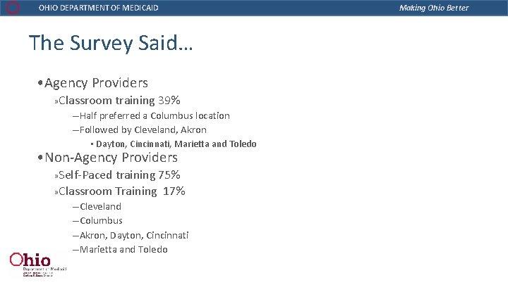 OHIO DEPARTMENT OF MEDICAID The Survey Said… • Agency Providers » Classroom training 39%