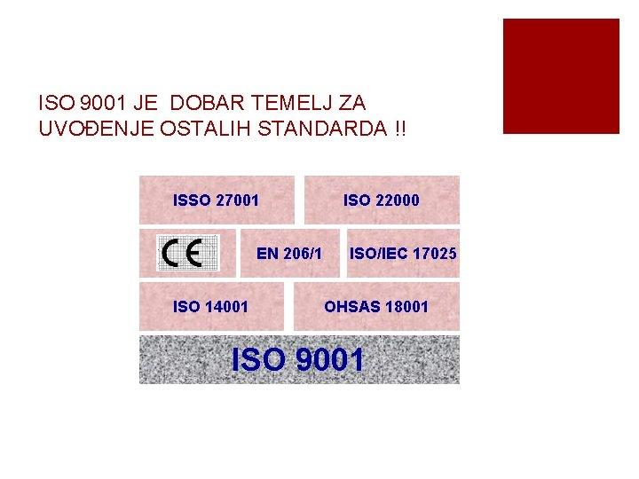 ISO 9001 JE DOBAR TEMELJ ZA UVOĐENJE OSTALIH STANDARDA !! ISSO 27001 EN 206/1