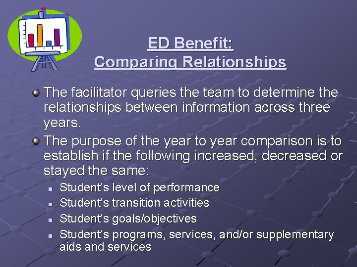 ED Benefit: Comparing Relationships The facilitator queries the team to determine the relationships between