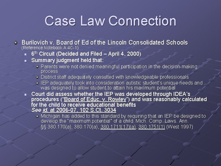 Case Law Connection Burilovich v. Board of Ed of the Lincoln Consolidated Schools (Reference