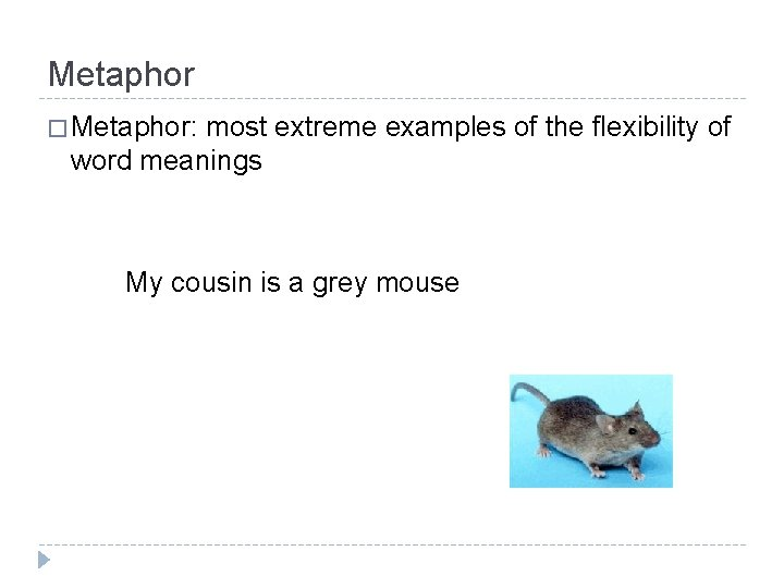 Metaphor � Metaphor: most extreme examples of the flexibility of word meanings My cousin