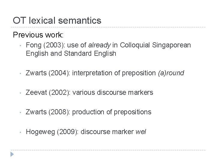 OT lexical semantics Previous work: • Fong (2003): use of already in Colloquial Singaporean