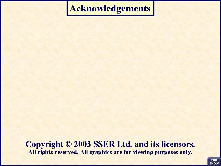 Acknowledgements Copyright © 2003 SSER Ltd. and its licensors. All rights reserved. All graphics