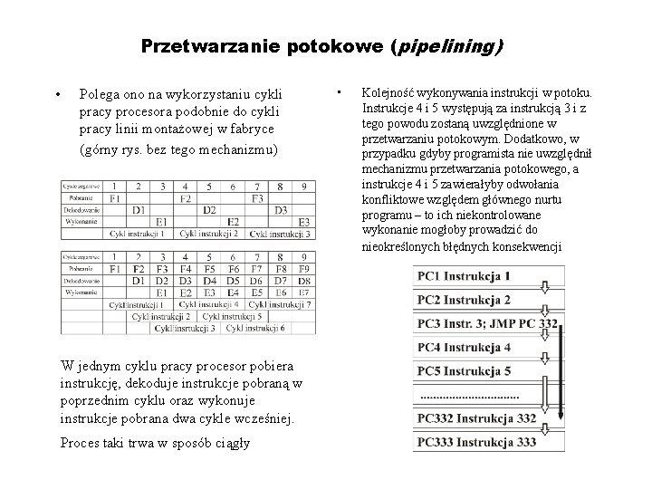 Przetwarzanie potokowe (pipelining) • Polega ono na wykorzystaniu cykli pracy procesora podobnie do cykli