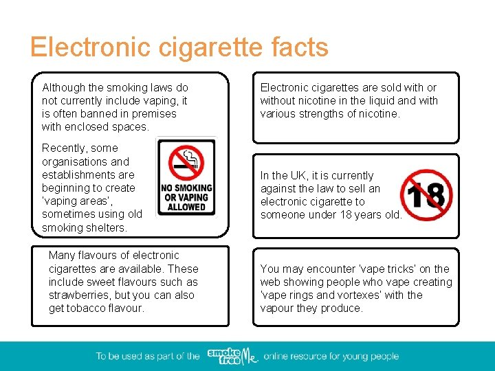 Electronic cigarette facts Although the smoking laws do not currently include vaping, it is