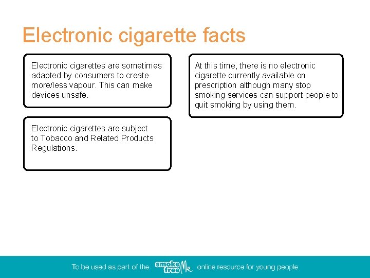 Electronic cigarette facts Electronic cigarettes are sometimes adapted by consumers to create more/less vapour.