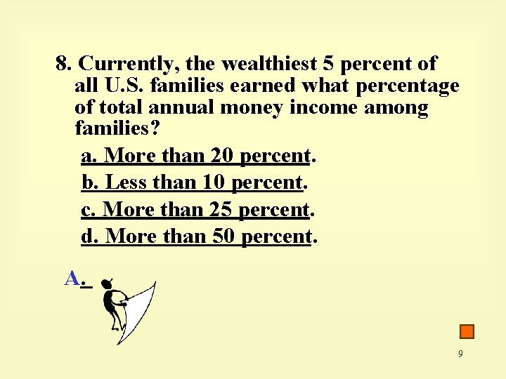 8. Currently, the wealthiest 5 percent of all U. S. families earned what percentage