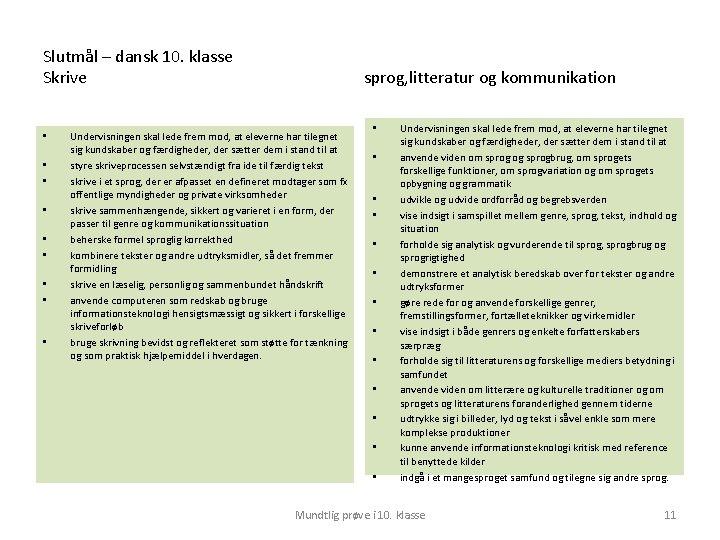 Slutmål – dansk 10. klasse Skrive • • • sprog, litteratur og kommunikation Undervisningen