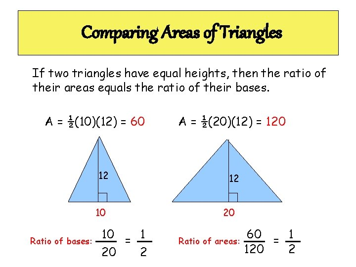 Comparing Areas of Triangles If two triangles have equal heights, then the ratio of