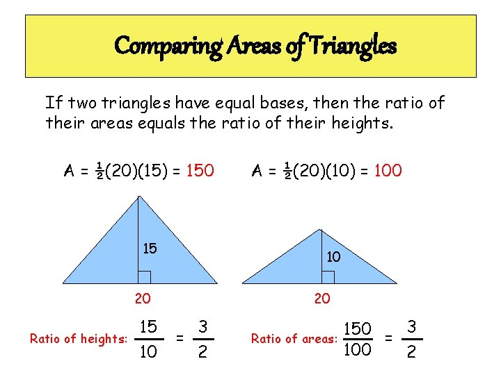 Comparing Areas of Triangles If two triangles have equal bases, then the ratio of
