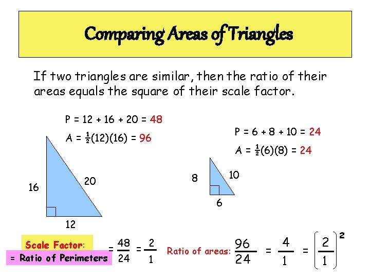 Comparing Areas of Triangles If two triangles are similar, then the ratio of their