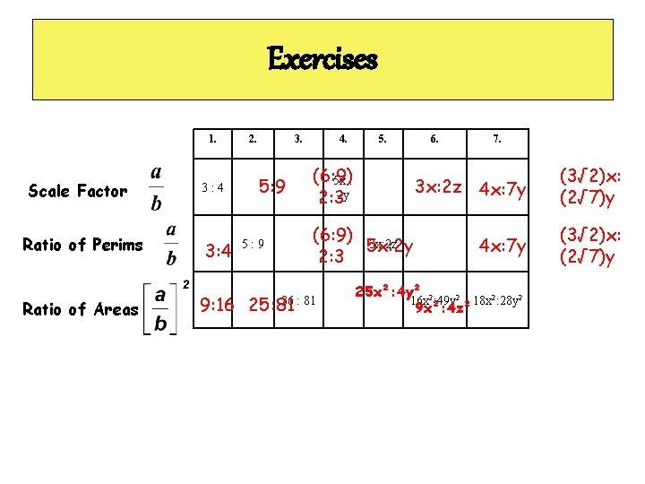 Exercises 1. Scale Factor Ratio of Perims Ratio of Areas 3: 4 9: 16