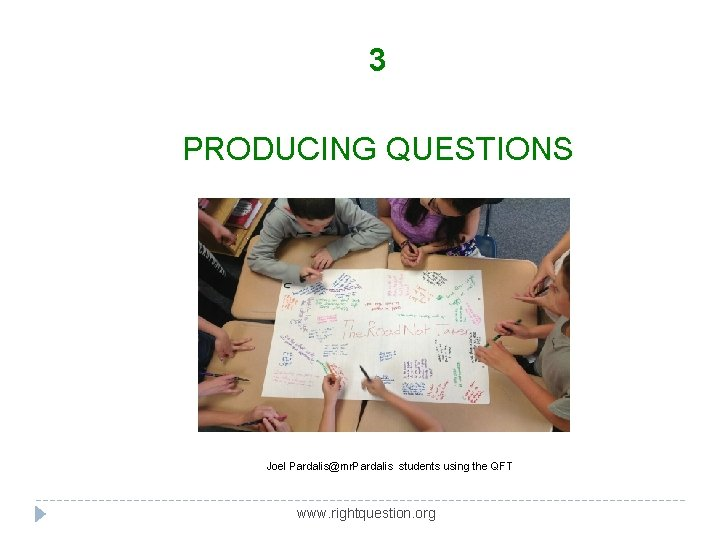3 PRODUCING QUESTIONS Joel Pardalis@mr. Pardalis students using the QFT www. rightquestion. org