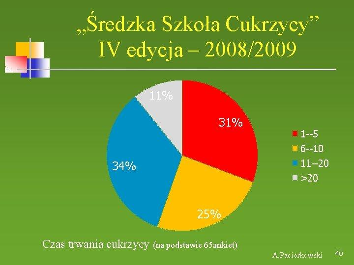 """""""Średzka Szkoła Cukrzycy"""" IV edycja – 2008/2009 11% 34% 1 --5 6 --10 11"""