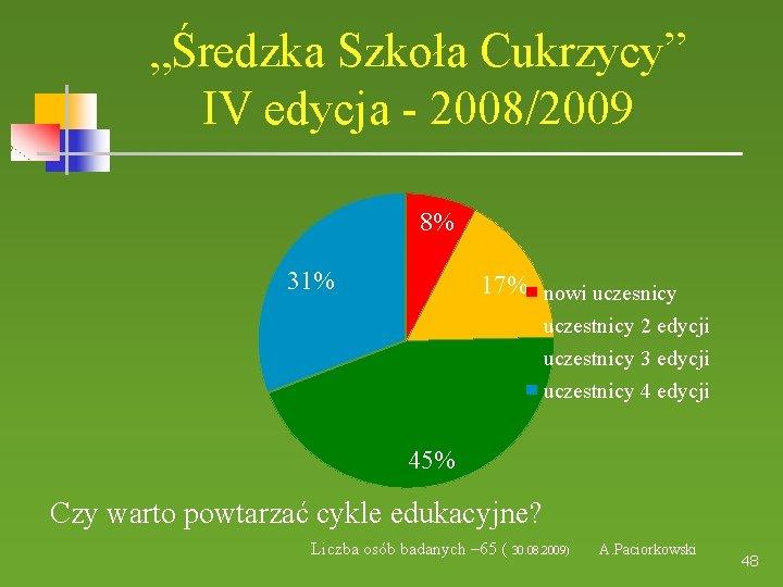 """""""Średzka Szkoła Cukrzycy"""" IV edycja - 2008/2009 8% 31% 17% nowi uczesnicy uczestnicy 2"""