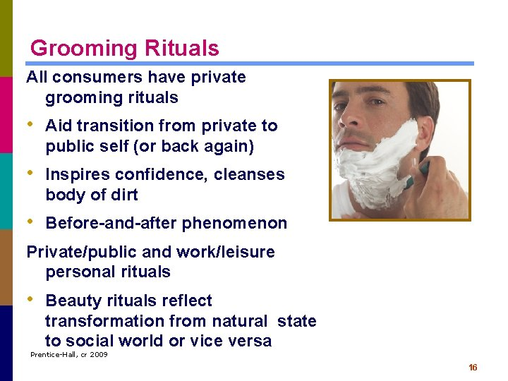 Grooming Rituals All consumers have private grooming rituals • Aid transition from private to
