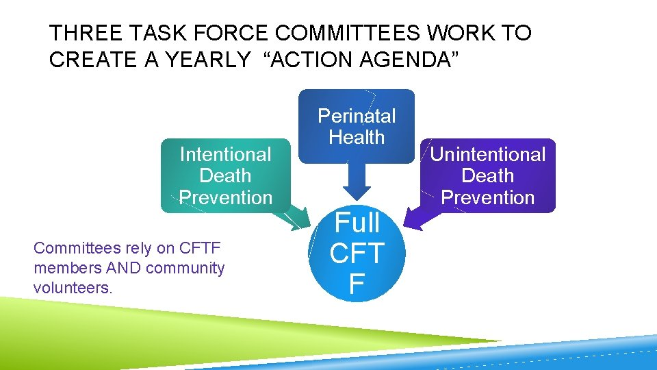 "THREE TASK FORCE COMMITTEES WORK TO CREATE A YEARLY ""ACTION AGENDA"" Intentional Death Prevention"